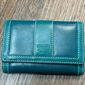 Coach teal leather trifold wallet